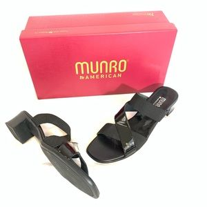 MUNRO BLACKPatent with Elastic Strappy Sandals